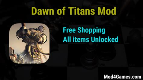 game mod free shopping dawn of titans mod free shopping all items unlocked