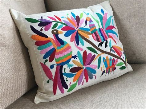 almohadas mexicanas large hand embroidered colorful otomi mexican pillow