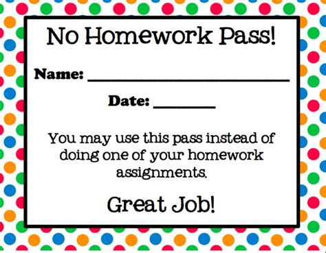 free homework pass template smiling in second grade no homework freebie