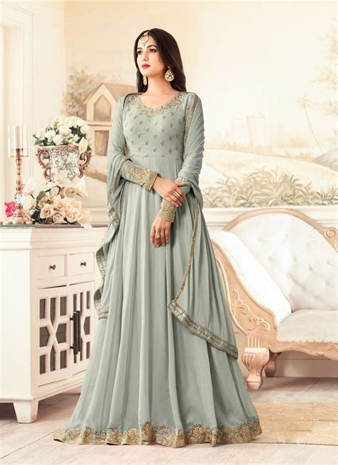 sonal chauhan designer suits sonal chauhan light grey party wear designer suit