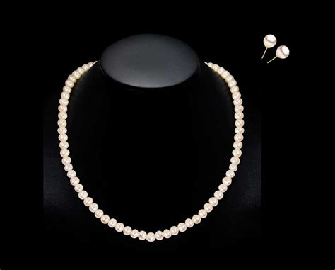 10mm pearl necklace and earring bridal set pearl clasp