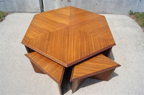 frank lloyd wright table l hexagonal coffee table set by frank lloyd wright for