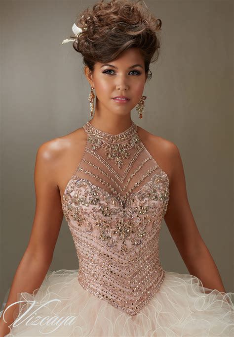 Jeweled Beading on a Ruffled Tulle Quinceanera Dress