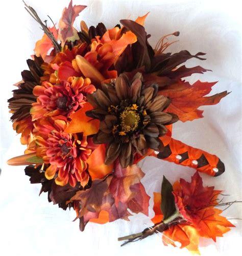 Autumn Silk Wedding Flowers by Fall Colors Bridal Bouquet Silk Flower Wedding Bouquet