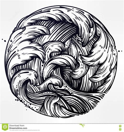 drawing a vector wave water waves in the sea line drawing stock vector