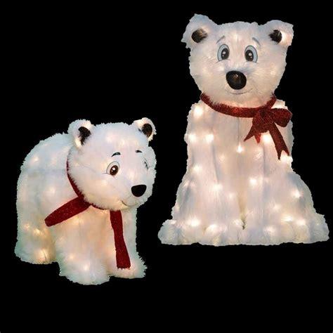 candy cane lane pre lit polar bear yard decor set of 2