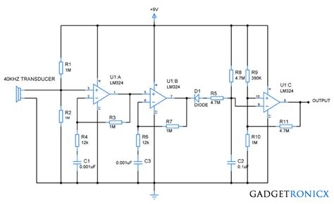 Lm324 Chip ultrasonic receiver circuit using op lm324 gadgetronicx