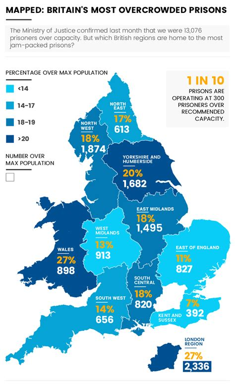 map uk prisons revealed where are britain s most overcrowded prisons