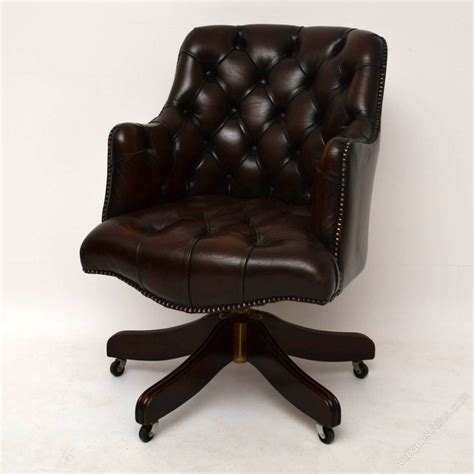 leather swivel desk chair antiques atlas antique style buttoned leather