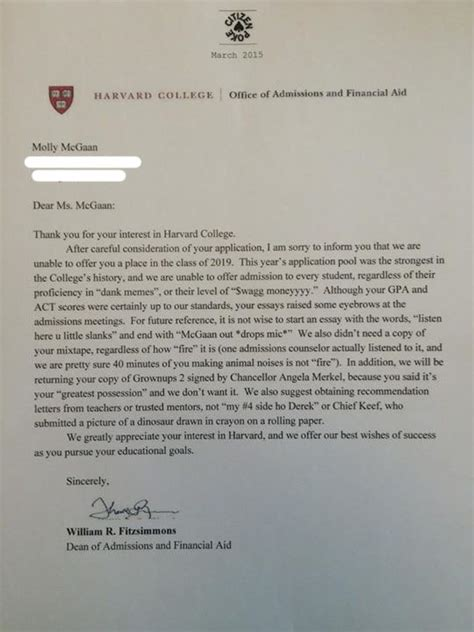 Decline Letter From Harvard Chicago High School Student S Harvard Rejection Letter Goes Viral Aol News