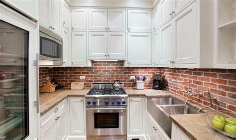 elegant brick backsplash in the kitchen presented with