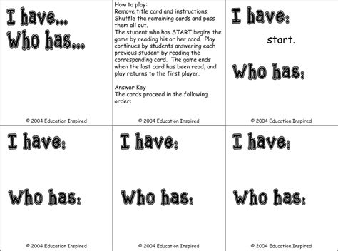 I Who Has Cards Template by Templates Education Inspired