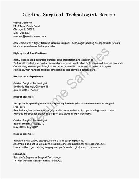 Surgical Resume Objective Resume Sles Cardiac Surgical Technologist Resume Sle