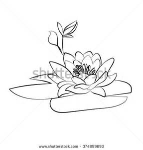 Few Lines On Lotus Flower In Beautiful Monochrome Vector Floral Frame Lotus Stock