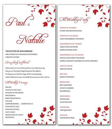 designs free free wedding program templates for microsoft word