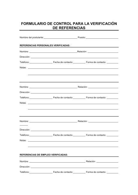 preguntas para referencias personales trabajo formulario para verificar referencia modelos y ejemplo