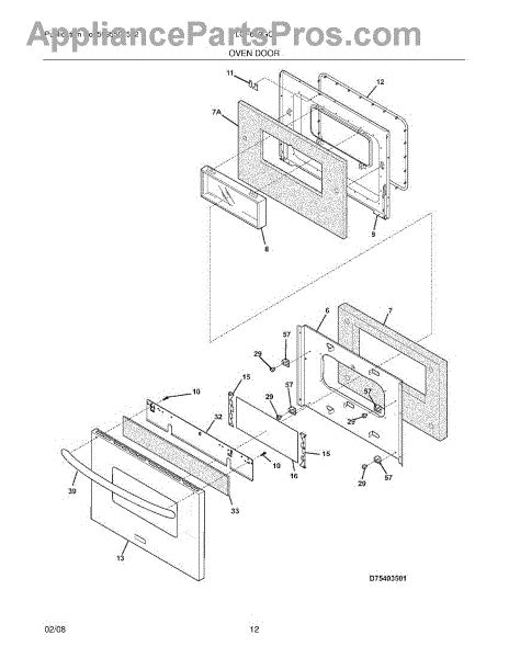 frigidaire stove parts diagram parts for frigidaire plgf659gca oven door parts