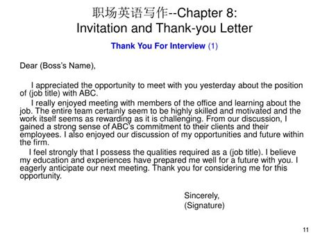 Invitation Letter To Write A Book Chapter Ppt 职场英语写作 Chapter 8 Invitation And Thank You Letter Powerpoint Presentation Id 216108