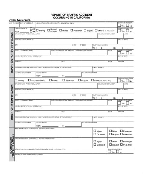 sample dmv accident report forms   word