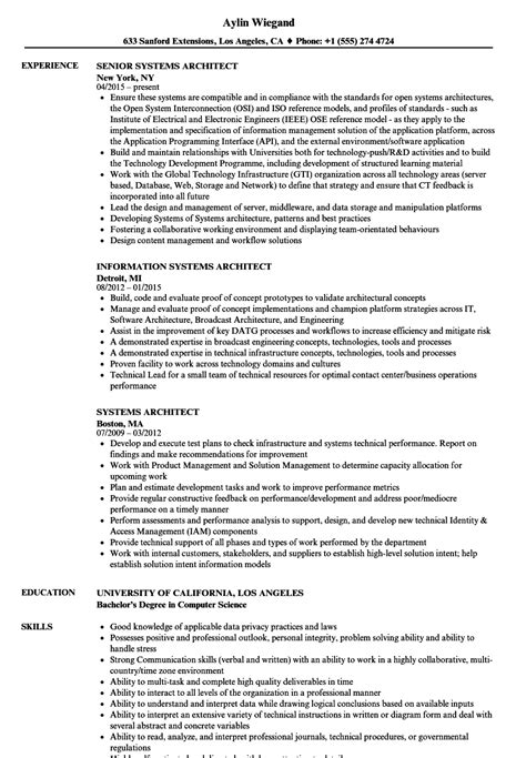 systems architect resume sles velvet jobs