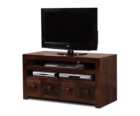 Tvs Drawer by 4 Drawer Media Unit 37 Quot Tv Stand Mango Wood Walnut