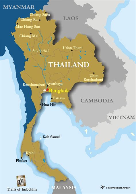 map of thailand country mapa de tailandia trails of indochina