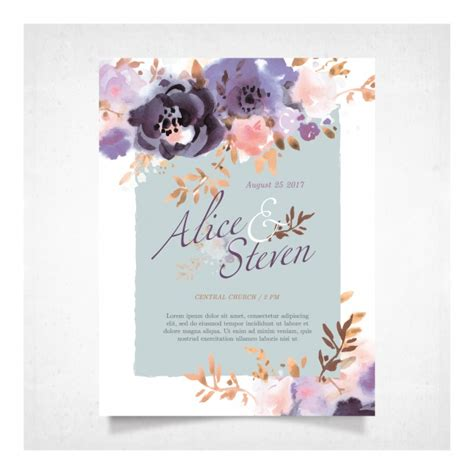 Wedding Card Vector by Wedding Card With Purple Flowers Vector Premium