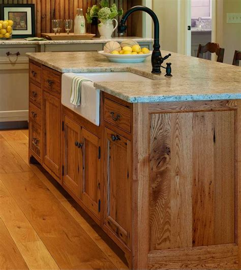 wood kitchen island substantial wood kitchen island with apron sink single handle rubbed bronze tall faucet