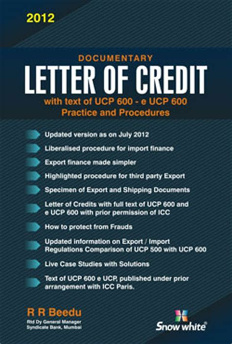 India Letter Of Credit Buy Documentary Letter Of Credit By R R Beedu Snow White Publications Pvt Ltd Books In India