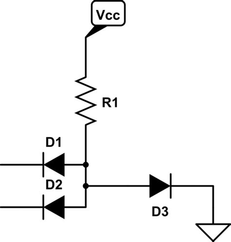 diode circuit for not gate led problem regarding and gate using diode electrical engineering stack exchange