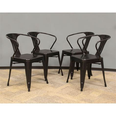 Black Metal Dining Chair Amerihome Black Metal Dining Chair Set Of 4 801293 The Home Depot