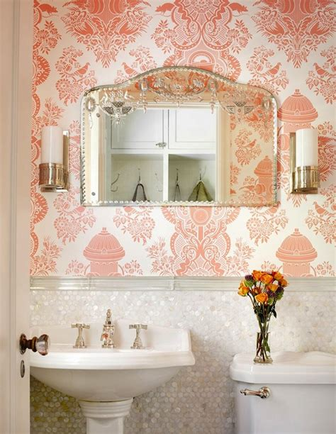 damask bathroom pink damask wallpaper traditional bathroom alan