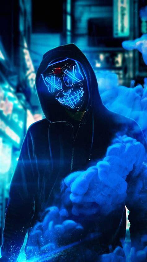 neon mask blue wallpaper  amazingwalls
