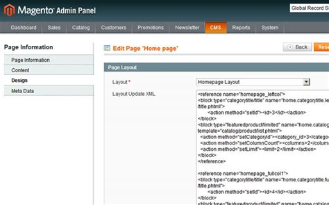 magento layout xml update handle using layout update xml in magento 183 freelance web