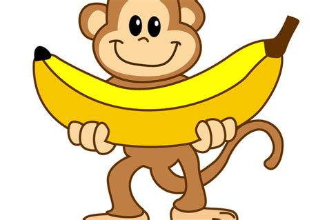 Monkilo Banana baby monkey with banana clip clipart panda free clipart images