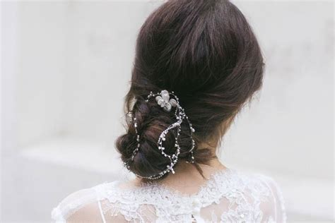 Wedding Hair Bun Wraps by Bridal Headpiece Wedding Hair Bridal Hair Chain