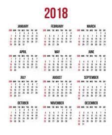 Calendario 2018 Week Calendar 2018 Year Week Starts Sunday Us Vector Clear