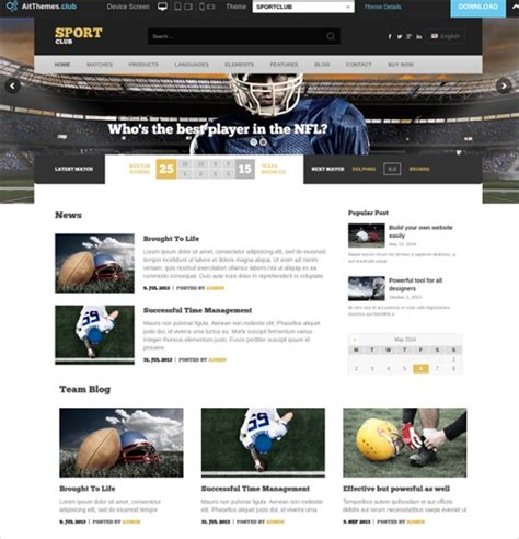 free sports website templates sports website templates new sports themes every month
