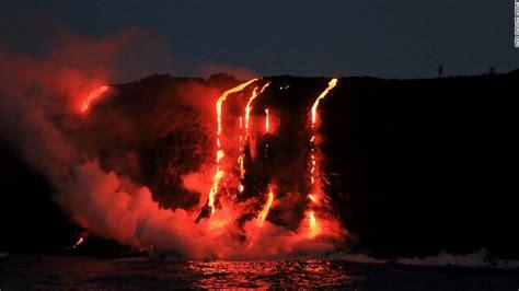 hawaiian lava boat tours cost lava from hawaii s kilauea volcano reaches the sea cnn