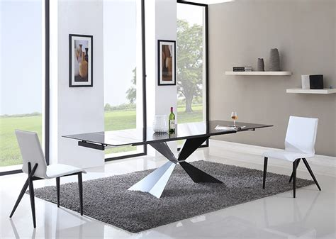 modern black glass dining table modrest titan modern extendable black glass dining table