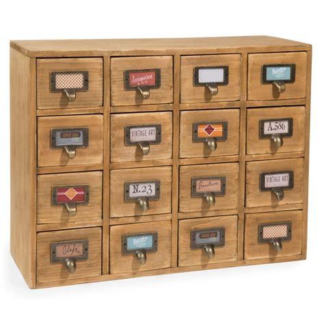 casier 16 tiroirs en bois h 35 cm maisons du monde