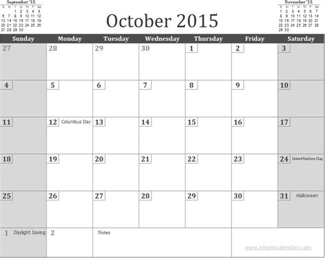 Calendar October 2015 Free October 2015 Calendar Template With Holidays