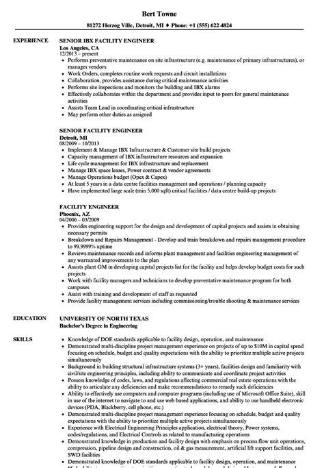 facility engineer resume facility engineer resume sles velvet