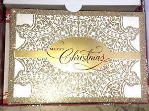 hallmark vintage merry christmas cards envelope seal glitter boxed set   ebay