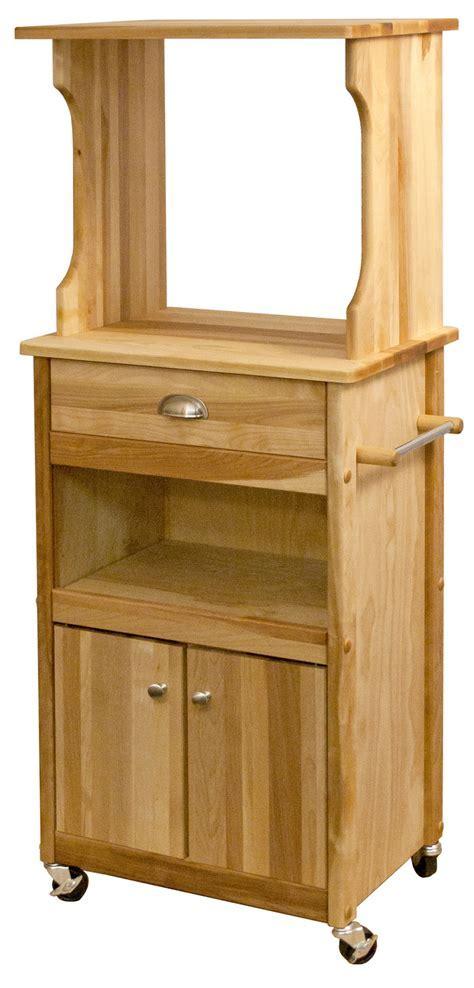 Catskill Microwave Cart   Open Shelf, Closed Cabinet