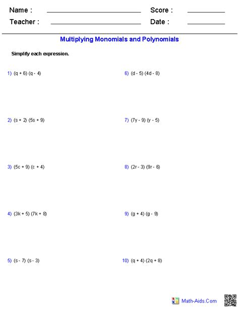 Multiplying Binomials Foil Practice Worksheet by Pre Algebra Worksheets Monomials And Polynomials Worksheets