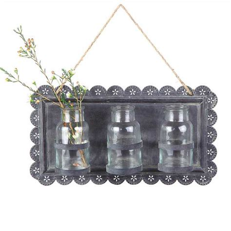 tin wall decor tin wall hanging w glass vases da0231