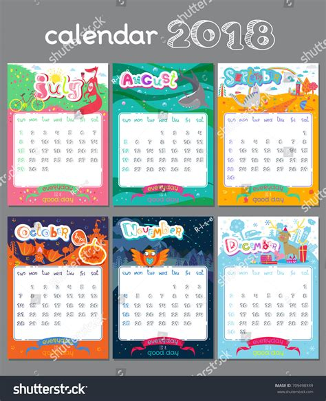 doodle calendar in doodle calendar design 2018 year vector stock vector