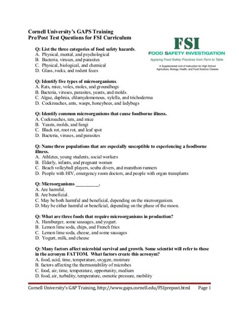 safe food handling test answers food safety curriculum test