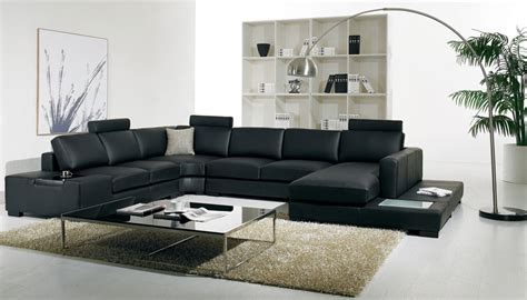 T35 Sectional Sofa T35 Modern Black Leather Sectional Living Room Furniture